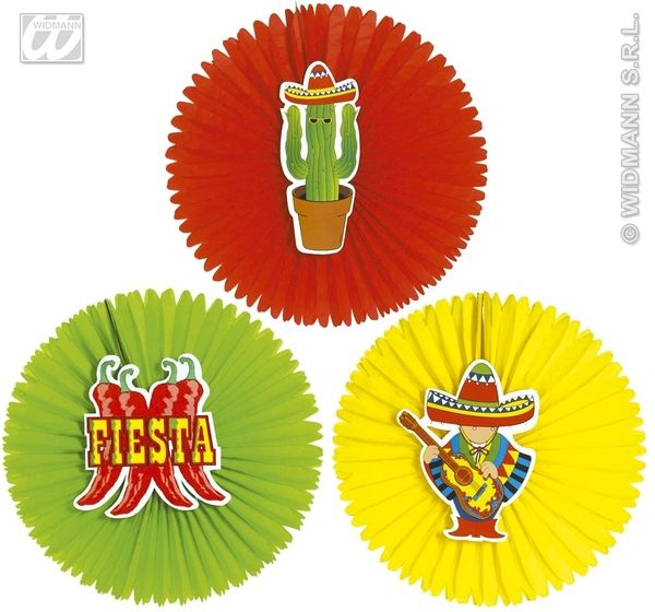 1 Mexican Paper Fans 55cm Hombre Cowboy Western Mexico Fancy Dress