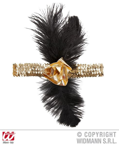 1920s Sequin Headband with Flower 20s 30s Fancy Dress