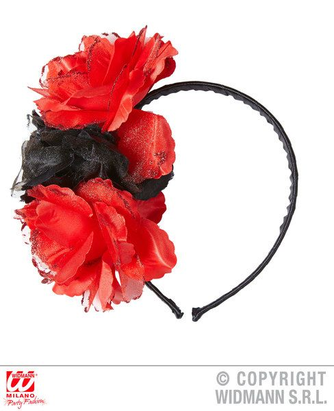 3 Roses Headband With Glitter Head Boppers Hawaiian Fancy Dress
