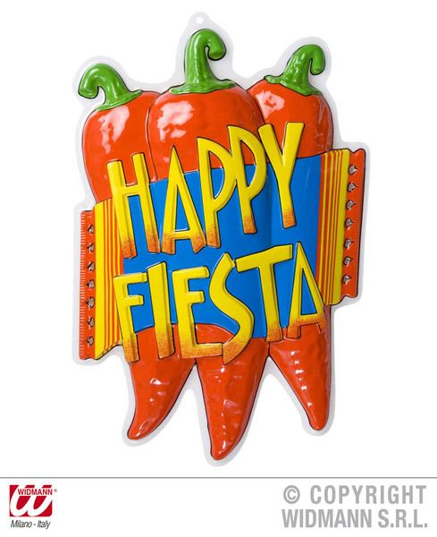 3D Happy Fiesta Chili Pepper Décor . 36X51cm Decoration Latin Carnival Brazilian