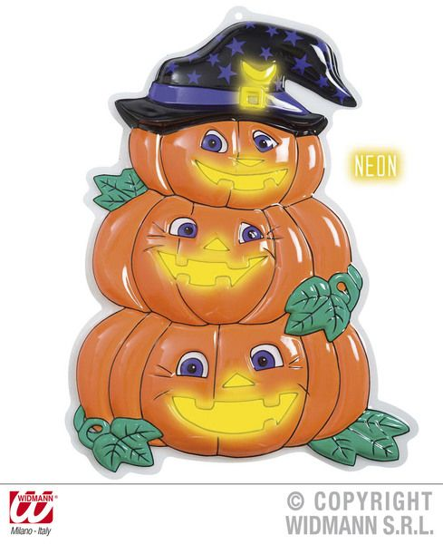 3D Neon Pumpkin Trio W/ Hat 32.5cmx48.5cm Trick Or Treat Jack O Lantern