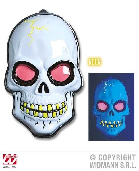 3D Neon Skull 56X38cm Decoration Pirate Halloween Skeleton Head Party