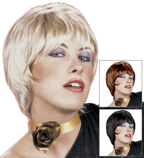 60s Wig In Polybag (Blonde/Black/Auburn) Mods Rockers Swinging 60s Fancy Dress