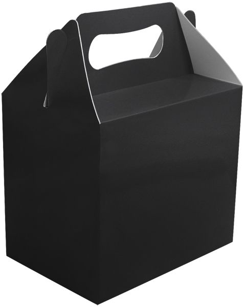 6x Black Birthday Wedding Engagement Party Boxes for Toys Gifts Cake Lunch Loot Bag
