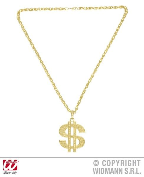 70s Gold Dollar Necklace Groovy 70s Disco Hippy