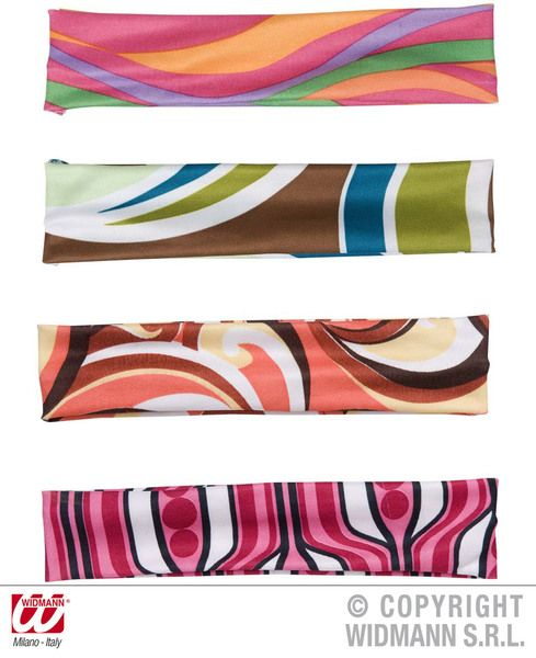 70s Headbands 4 Colours Groovy 70s Disco Hippy Fancy Dress