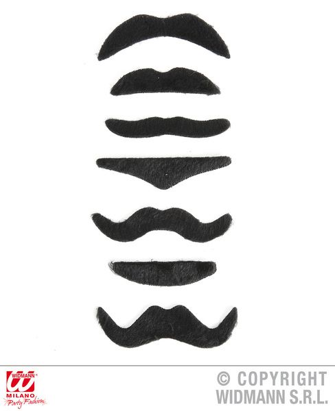 70s Moustaches Set Of 7 Assorted Styles Groovy 70s Disco Hippy Fancy Dress