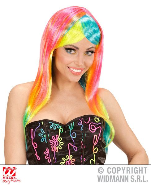 90s Pop Fashion Wig Neon Multi 90s Nineties Fancy Dress