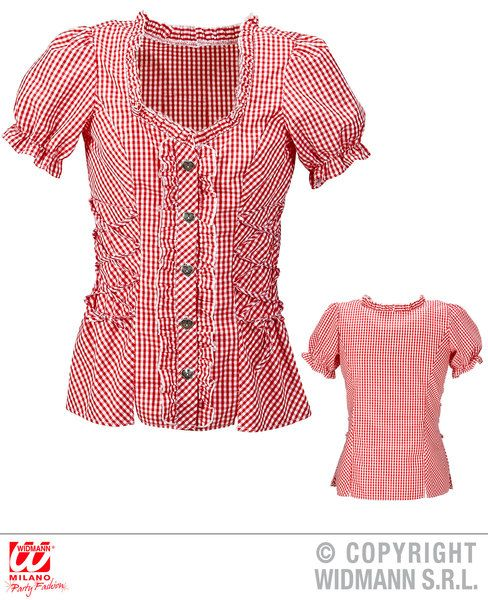Adult Bavarian Red Blouse T-Shirt Fancy Dress