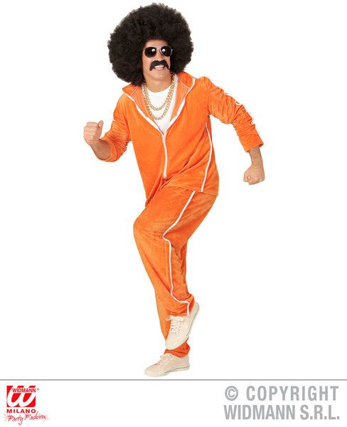Adults 80s Orange Chenille Tracksuit Costume 80s Fancy Dress