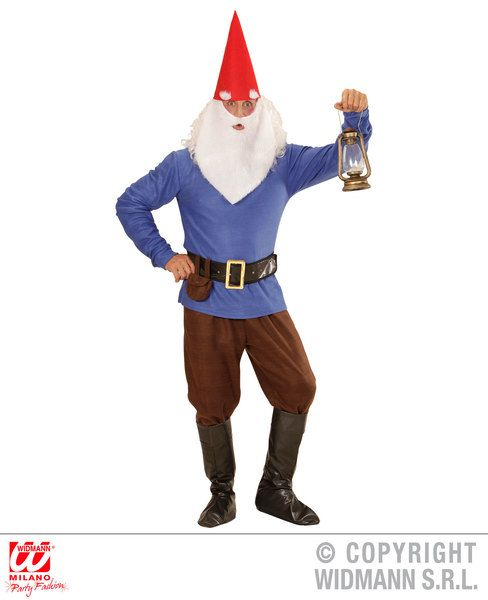 Adults Blue Gnome Costume Fancy Dress