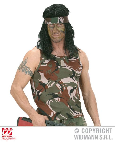 Adults Camouflage Sleeveless Shirt T-Shirt Military Fancy Dress