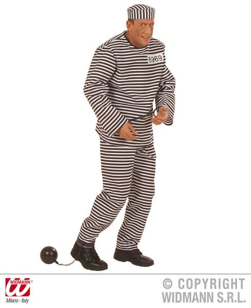 Adults Convict Costume Heavy Fab Black/White Police Fancy Dress