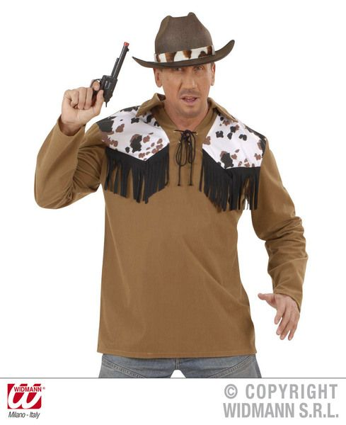 Adults Cowboy Shirt - Black Top Cowboy Wild West Fancy Dress