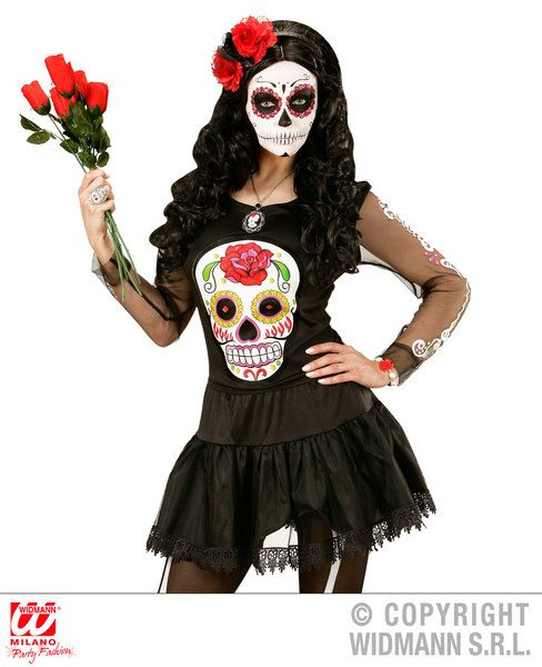 Adults Dia De Los Muertos Shirt T-Shirt Halloween Fancy Dress
