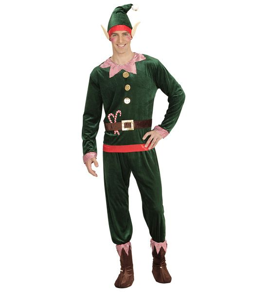Adults Elf Boy Costume Fancy Dress