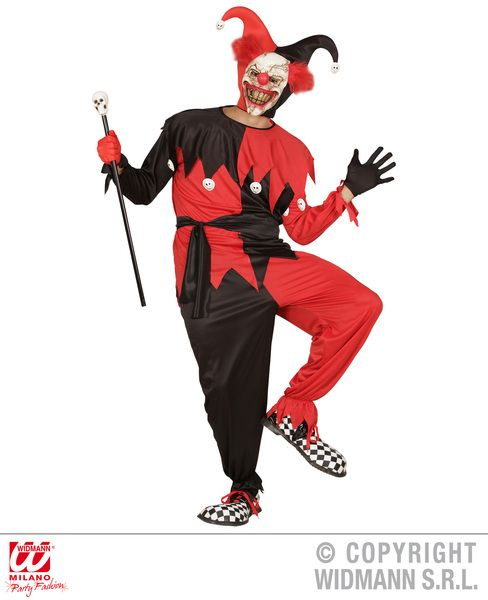 Adults Evil Jester - Black/Red Costume Circus Fancy Dress