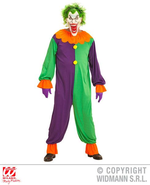 Adults Evil Joker Costume Halloween Fancy Dress