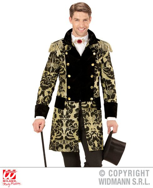 Adults Gold Jacquard Parade Coat Costume Circus Fancy Dress