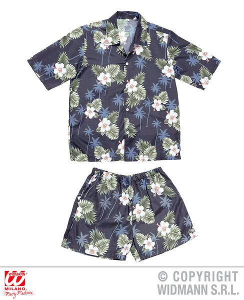Adults Hawaiian Shirt, Shorts Dress-Up Set Hawaiian Fancy Dress