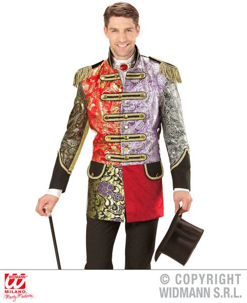 Adults Jacquard Patchwork Parade Coat Costume Circus Fancy Dress