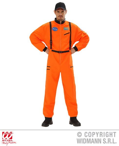 Adults Orange Astronaut Costume Space Fancy Dress