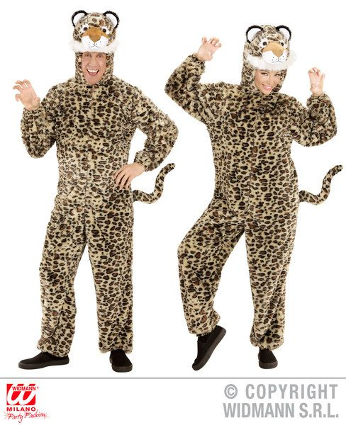 Adults Plush Leopard Costume Animal Fancy Dress