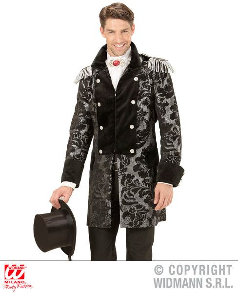 Adults Silver Jacquard Parade Coat Costume Circus Fancy Dress