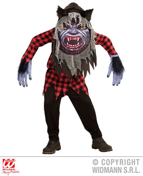 Adults Werewolf Big Head Costume Fancy Dress