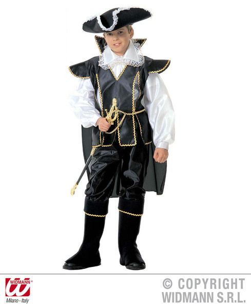 Boys Captain Black Costume Pirate Fancy Dress