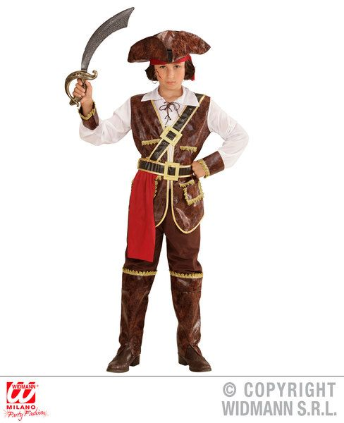 Boys Caribbean Pirate Captain Costume Pirate Fancy Dress