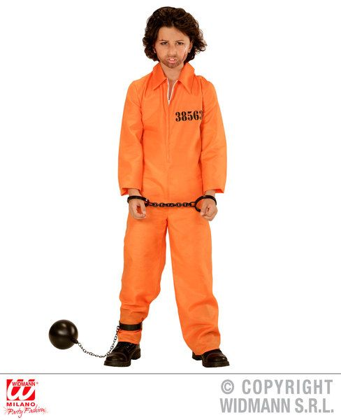 Boys County Jail Inmate Costume Police Fancy Dress