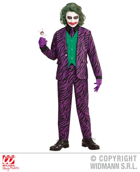 Boys Evil Joker Costume Fancy Dress