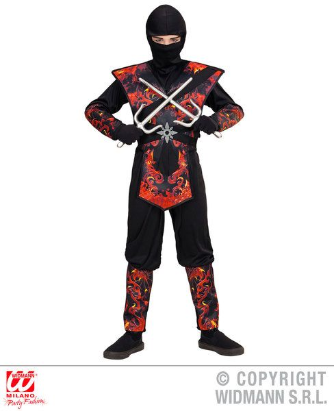 Boys Flaming Dragon Ninja Costume Ninja Fancy Dress