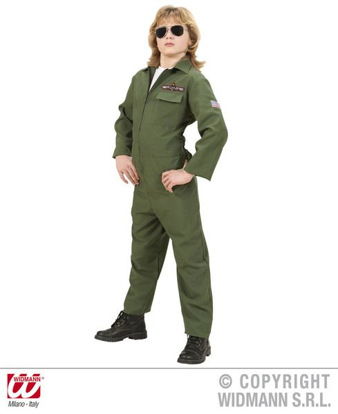 Boys Heavy Fabric Fighter Jet Pilot Costume Military Fancy Dress