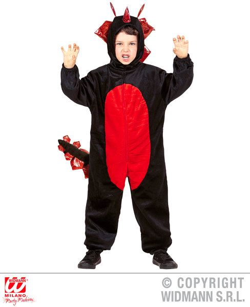 Boys Plush Black Dragon Costume Animal Fancy Dress