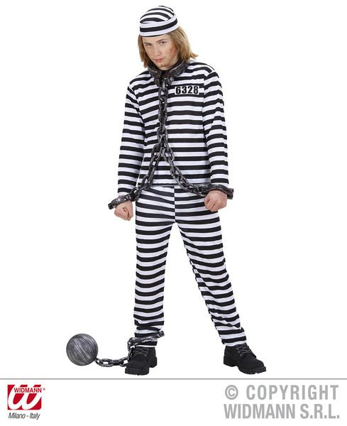 Childrens Convict Costume - Black/White Police Fancy Dress