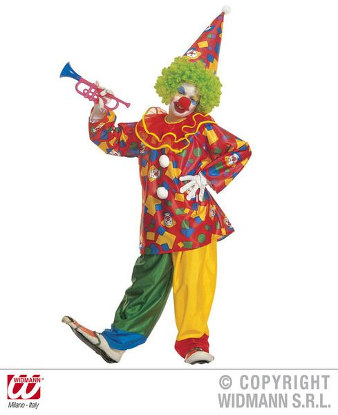 Childrens Funny Clown Costume Circus Fancy Dress