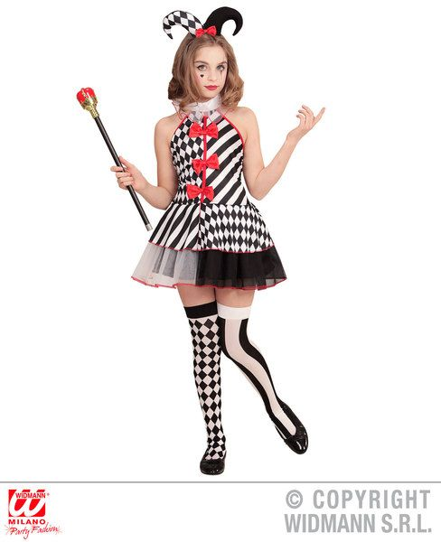 Childrens Harlequin Costume Halloween Fancy Dress