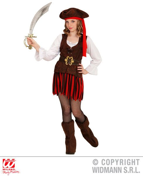Childs Caribbean Pirate Girl Costume Fancy Dress