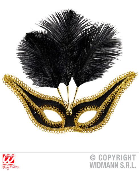 Eyemask With Gold Trim & Feathers Fancy Dress