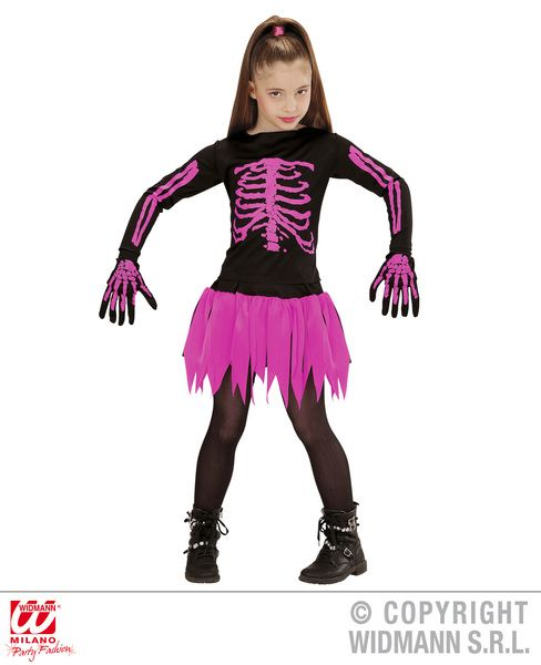 Girls Ballerina Skeleton Costume Halloween Fancy Dress