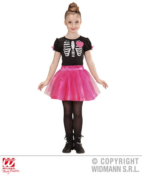 Girls Ballerina Skeleton Girl Costume Halloween Fancy Dress