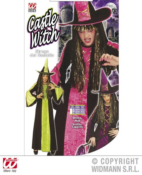 Girls Castle Witch Costume - 3 Colours Halloween Fancy Dress