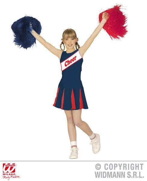 Girls Cheerleader - Blue/Red - Costume Sport Fancy Dress