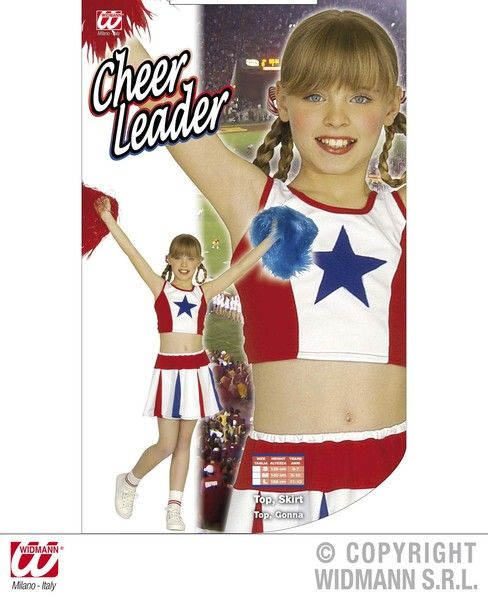 Girls Cheerleader - White/Red/Blue Costume Sport Fancy Dress