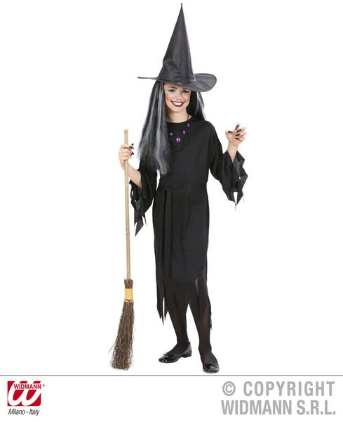 Girls Chic Witch Costume Halloween Fancy Dress