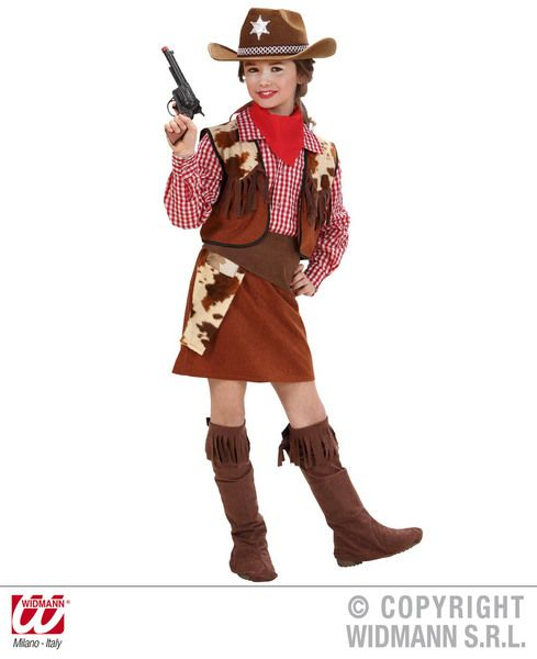 Girls Cowgirl Costume Cowboy Wild West Fancy Dress