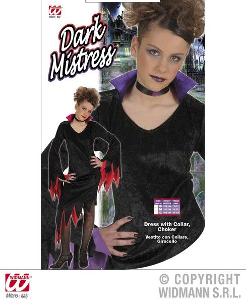 Girls Dark Mistress - 2 Colours Costume Halloween Fancy Dress