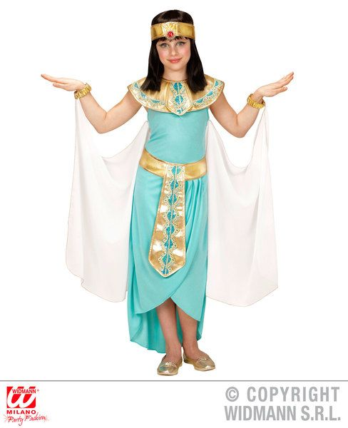 Girls Egyptian Queen - Blue Dress Belt Collar Cuffs Headpi Costume Egyptian